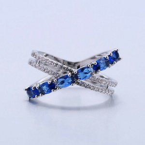 Infinity 925 Silver Round Cut Blue Sapphire Ring